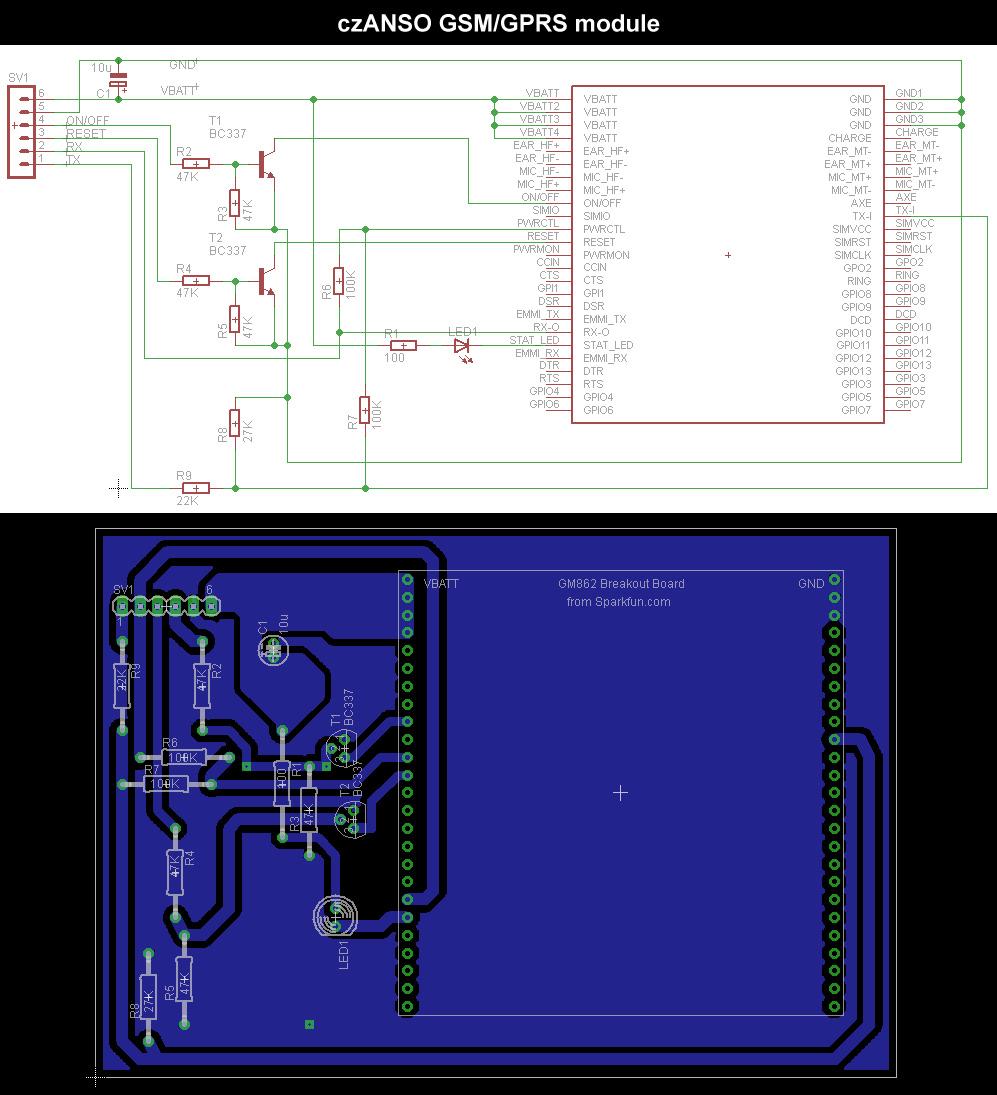 schema a DPS - czANSO GSM/GPRS modul