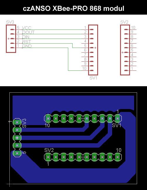 schema a DPS - czANSO komunikační XBee modul